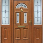 Front door with side panels